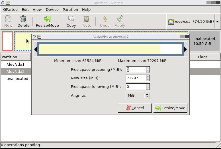 Resize the Filesystem